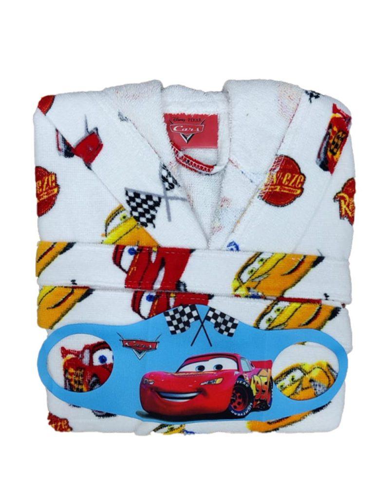 Παιδικό Μπουρνούζι Cars - Λευκό -100% Βαμβακερό + Δώρο Μάσκα
